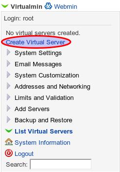 Vytvoření nového virtuálního serveru krok 1